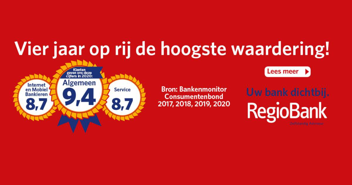 RegioBank vier jaar op rij hoogste waardering!